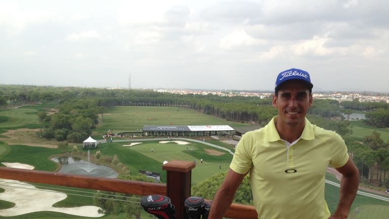 Rafa Cabrera-Bello on the clubhouse balcony at the Montgomerie Maxx Royal in Turkey