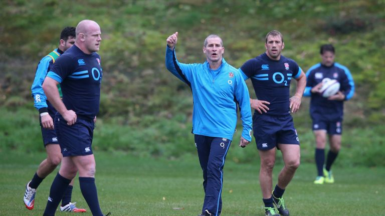 Stuart Lancaster directs training ahead of the New Zealand showdown