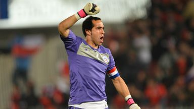 Chile goalkeeper Claudio Bravo in action against Bolivia