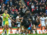 Shaun Johnson celebrating converting the winning try with the last kick of the game against England at Wembley