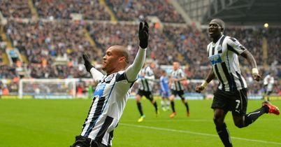 Yoan Gouffran: Newcastle winger celebrates scoring the opening goal
