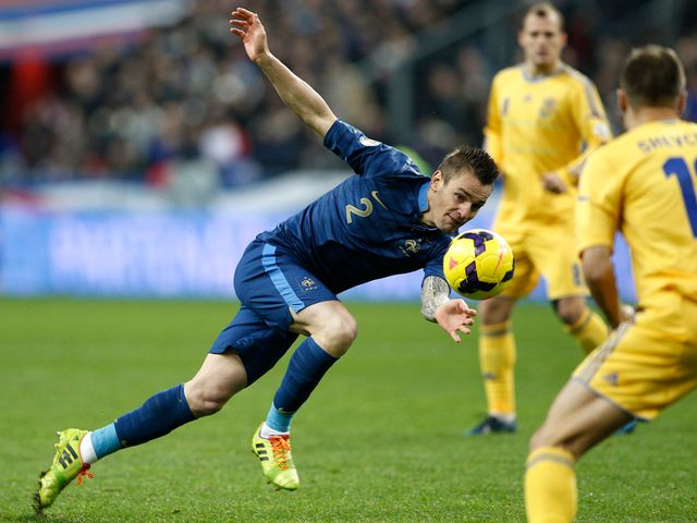 Mathieu Debuchy in action for France.