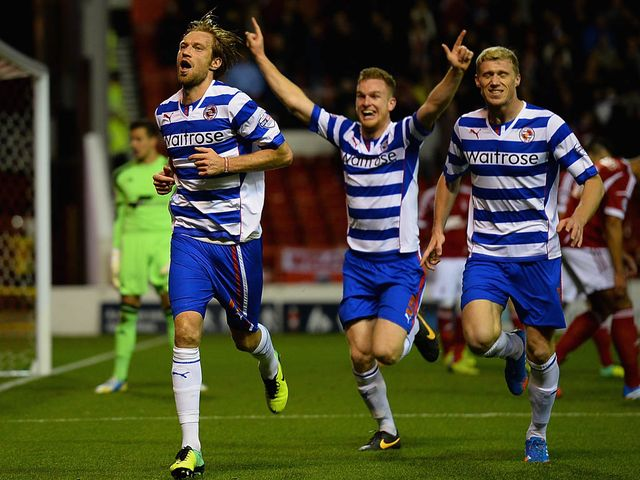 Kaspars Gorkss celebrates his goal for Reading