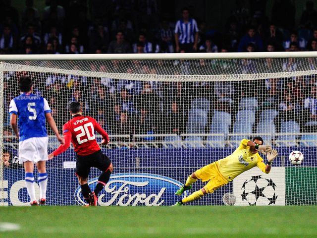 Robin van Persie missed a penalty for United
