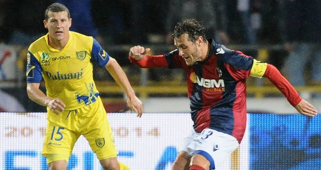 Alessandro Diamanti gets in a shot for Bologna
