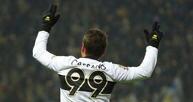 Antonio Cassano celebrates his goal for Parma
