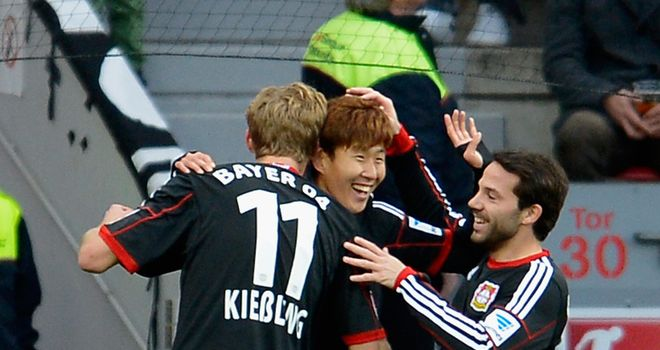 Heung Min Son of Bayer Leverkusen celebrates