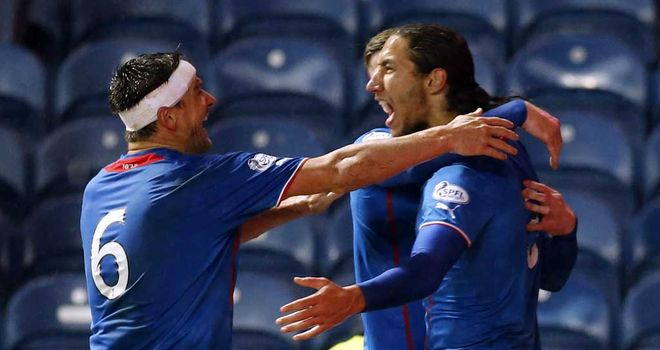 Bilel Mohsni: Celebrates his goal in added time
