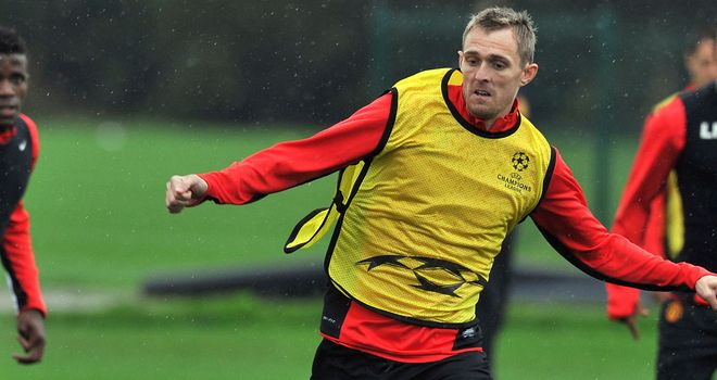Darren Fletcher during United training last month