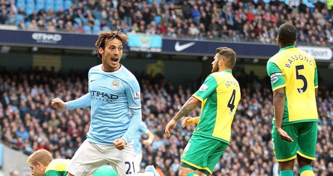 David Silva celebrates his first half goal
