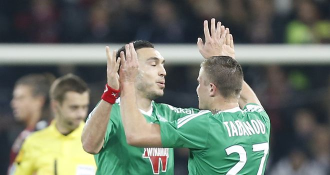 St Etienne's French forward Mevlut Erding celebrates