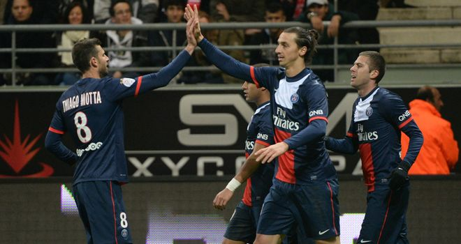 Zlatan Ibrahimovic celebrates after scoring the third