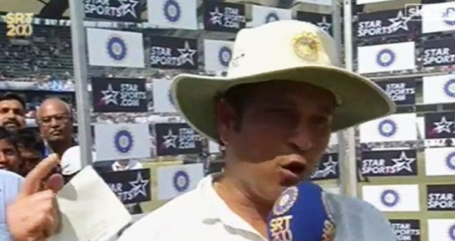 Tendulkar gave a long speech, cheered on by his adoring public