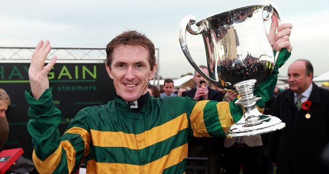 Tony McCoy celebrates his 4,000th winner