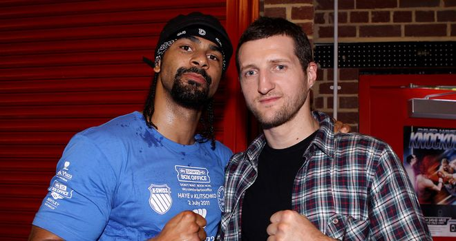 David Haye and Carl Froch during a media training day at his Hayemaker Gym in 2011