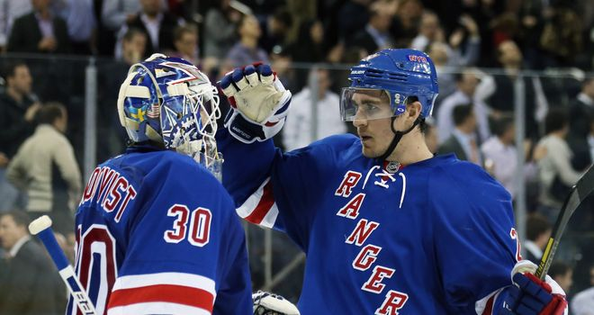 New York Rangers duo Henrik Lundqvist and Ryan McDonagh celebrate