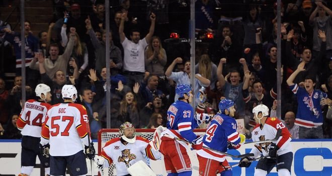 Ryan Callahan and Ryan McDonagh celebrate as New York Rangers move clear