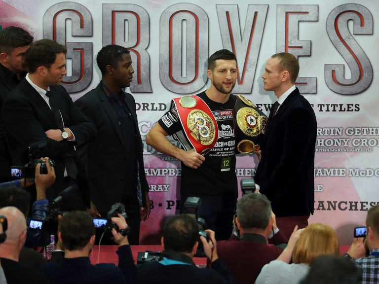 Champion Froch (l) and Groves will battle it out on Saturday night