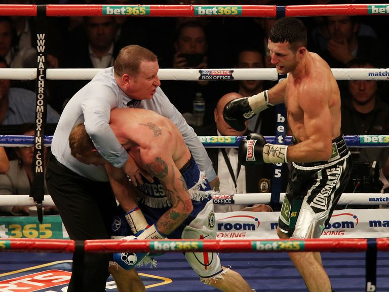 Carl Froch controversially forced a stoppage win over George Groves