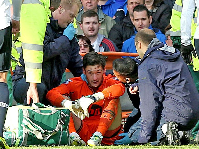 Lloris: Controversially stayed on the pitch for Spurs
