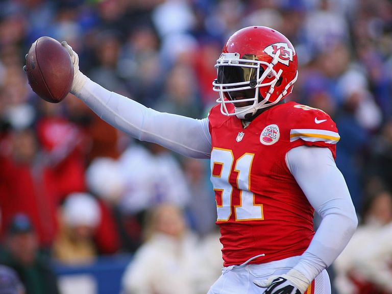 Tamba Hali celebrates his crucial touchdown for Kansas City