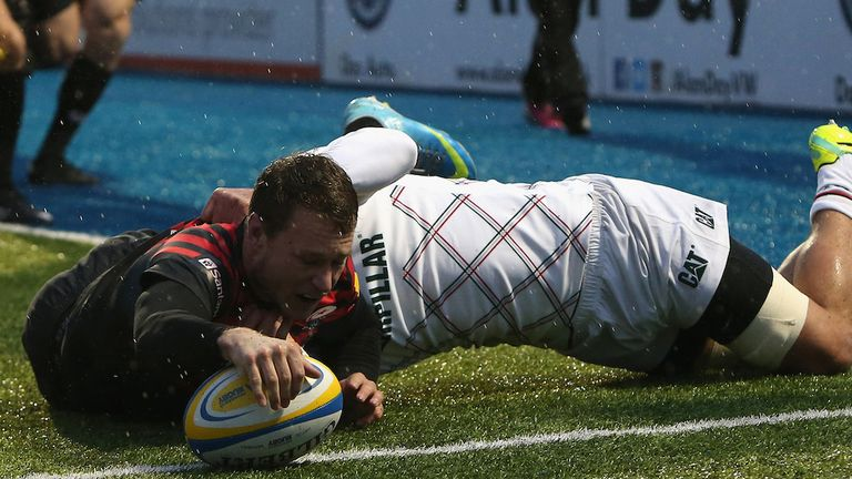 Jack Wilson reaches over to score Sarries' first try