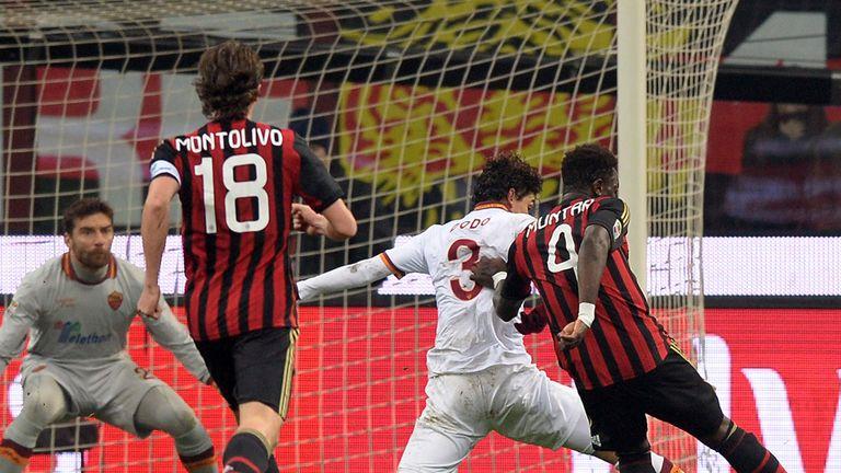 Sulley Muntari nets AC Milan's equaliser.