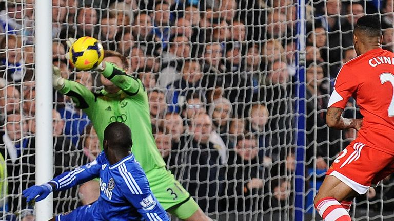 Artur Boruc: Collides with the post as he attempts to deny Demba Ba