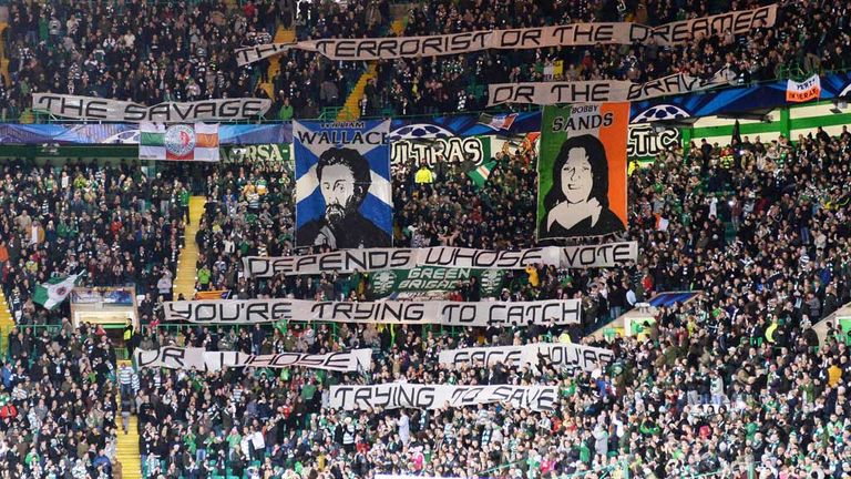 Celtic have been fined by UEFA over fans displaying a political banner