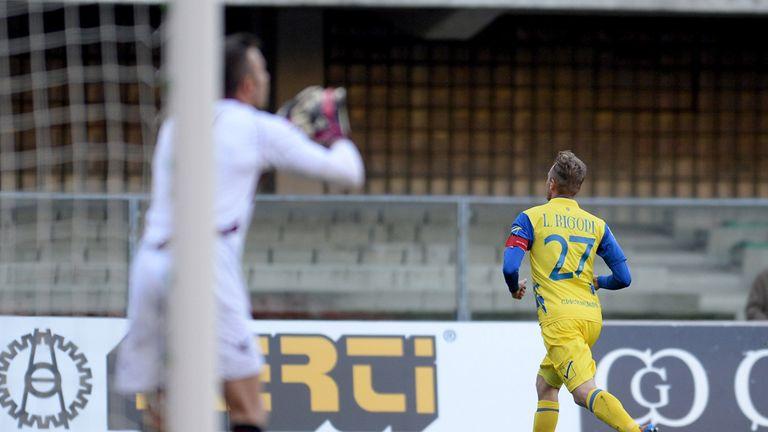Luca Rigoni celebrates his goal.