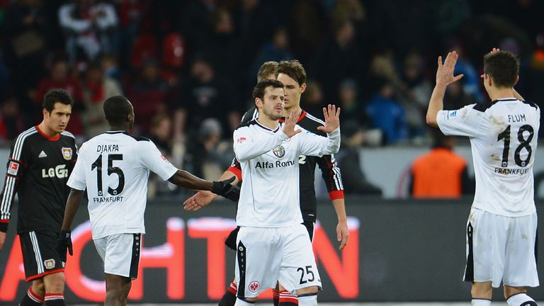 Eintracht Frankfurt celebrate against Bayer Leverkusen