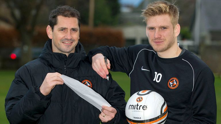 Stuart Armstrong: Dundee United midfielder (r) has signed a contract extension