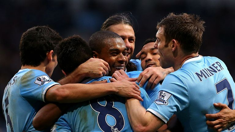 Manchester City celebrate on their way to a stunning 6-3 win over Arsenal