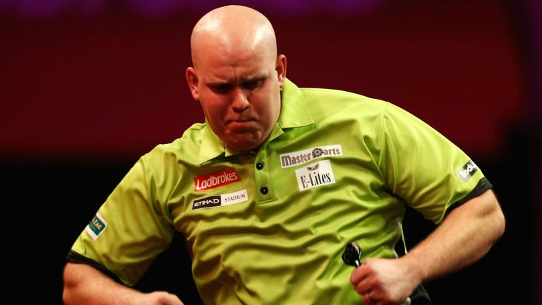 Michael van Gerwen takes on Adrian Lewis in Monday night's second semi-final