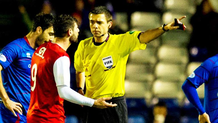 Nadir Ciftci: Dundee United striker (centre) is dismissed at Inverness