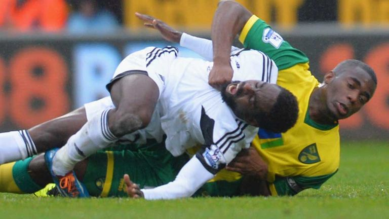 Nathan Dyer: Damaged ankle after challenge from Bassong