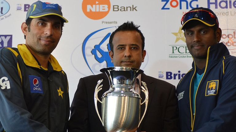 The skippers with the trophy up for grabs in the Test series