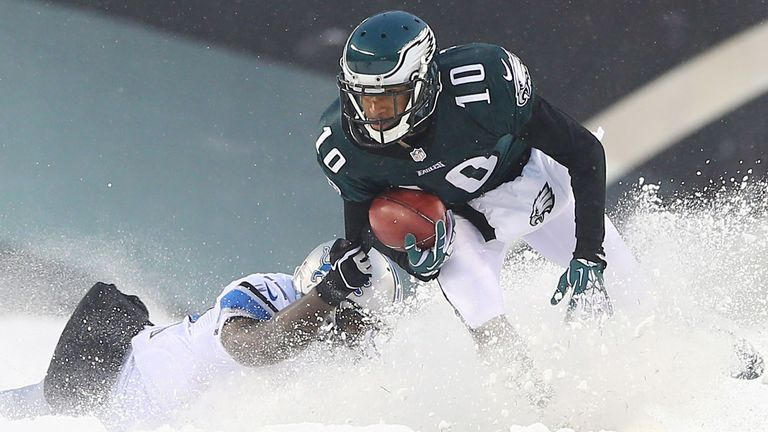 Snow joke: Philadelphia and Detriot do battle in the adverse weather conditions
