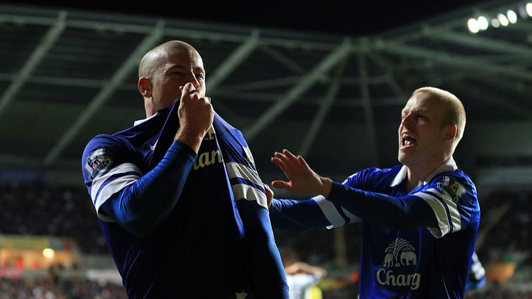 Ross Barkley: Celebrates scoring in Everton's 2-1 win at Swansea in December