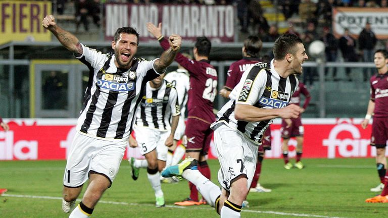 Thomas Heurtaux: Celebrates his strike for Udinese