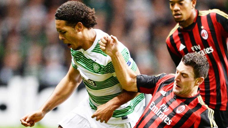 Virgil van Dijk: Celtic (left) defender in action against AC Milan