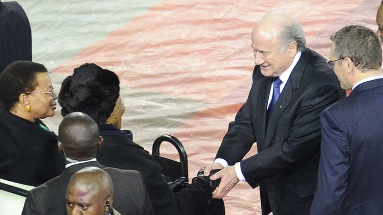 Sepp Blatter greets Nelson Mandela before the 2010 World Cup final