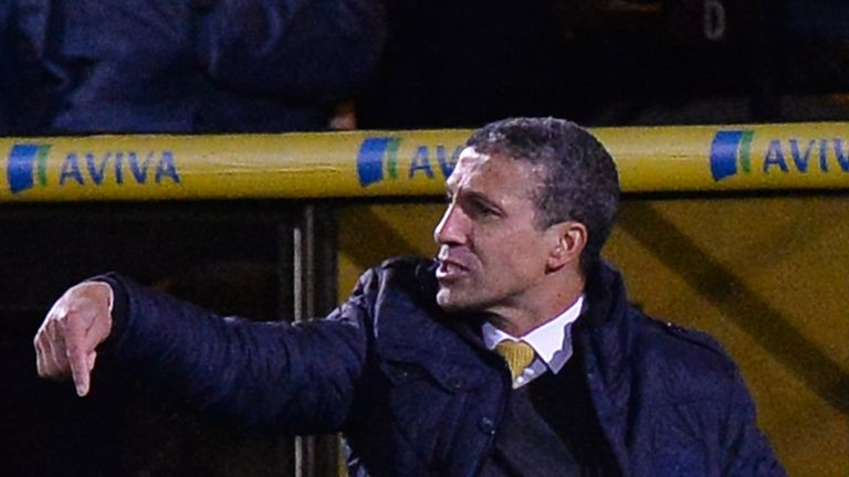 Chris Hughton: Watches on as Norwich lose to United
