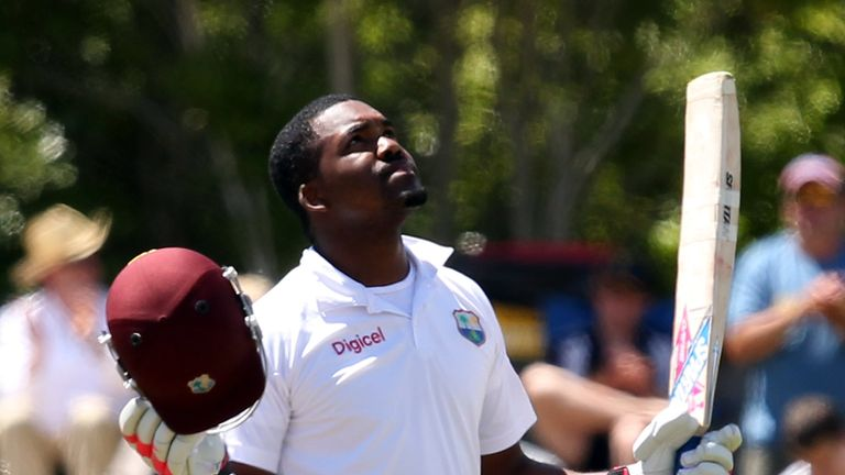 Darren Bravo celebrates his century for the West Indies
