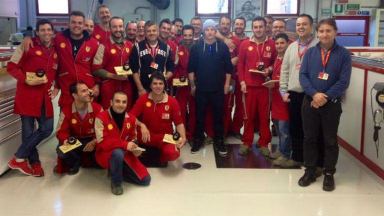 Kimi Raikkonen visited the Ferrari factory on Monday (Image: Ferrari Twitter)