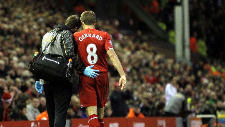 Steven Gerrard: Limps off with hamstring problem