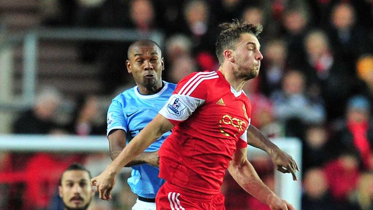 Jay Rodriguez: Southampton forward is challenged by Fernandinho