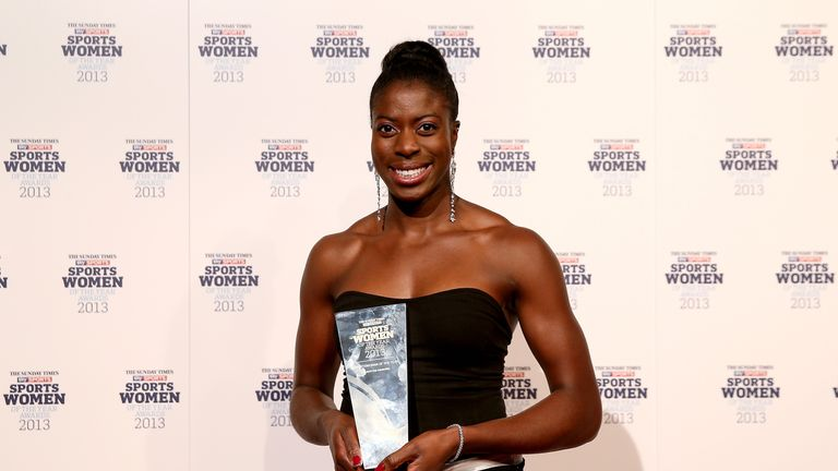 Christine Ohuruogu with her Sportswoman of the Year trophy