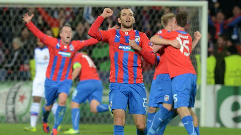 Tomas Wagner celebrates after Viktoria Plzen's victory over CSKA Moscow