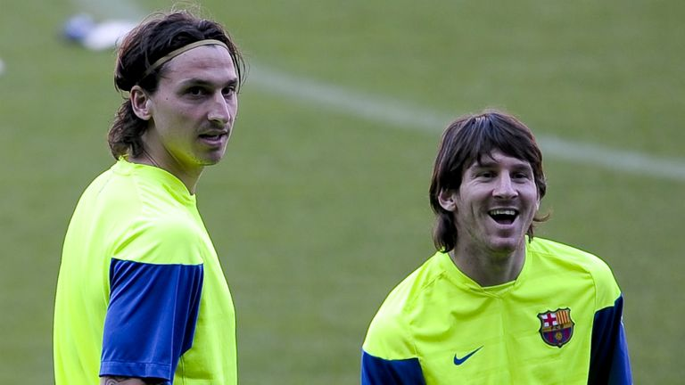 Zlatan Ibrahimovic (l) would love to be reunited with former Barcelona team-mate Lionel Messi (r) at PSG